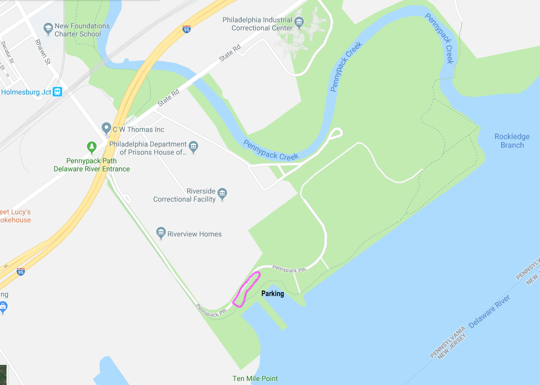 Map of Pennypack on the Delaware, showing to place to park